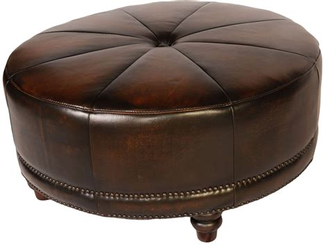 black round leather ottoman cindy black tan leather round ottoman from lazzaro wh