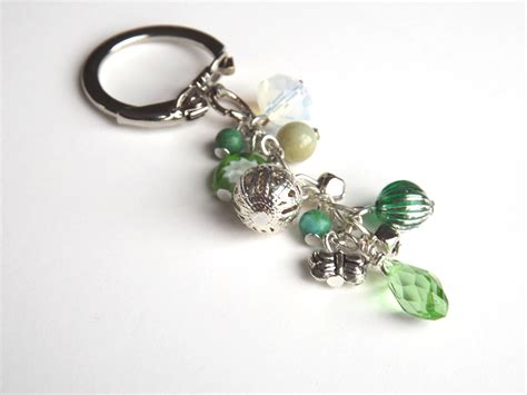 bead keychain handmade beaded keychain key chain bag charm by feltandgem