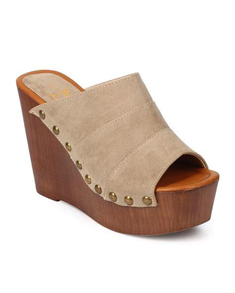 shoes betani ek32 suede peep toe studded slide wedge