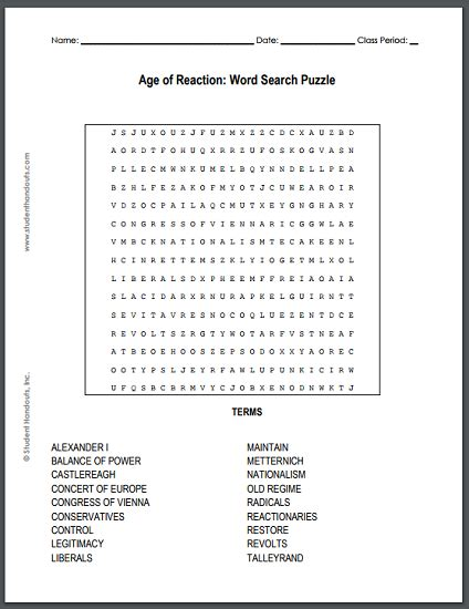 Age Search Free Age Of Reaction Free Printable Word Search Puzzle Student Handouts