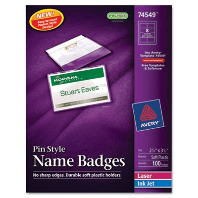 avery template name badge avery 74549 name badge holders kit with laser inkjet inserts