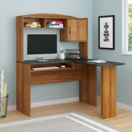 l shaped office desks with hutch mainstays l shaped desk with hutch finishes