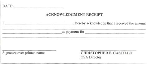 Acknowledgement Letter Cao Acknowledgement Of Received 50 Free Receipt Templates Sales Donation Taxi
