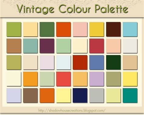 vintage colors shadowhouse creations vintage colour palette vintage