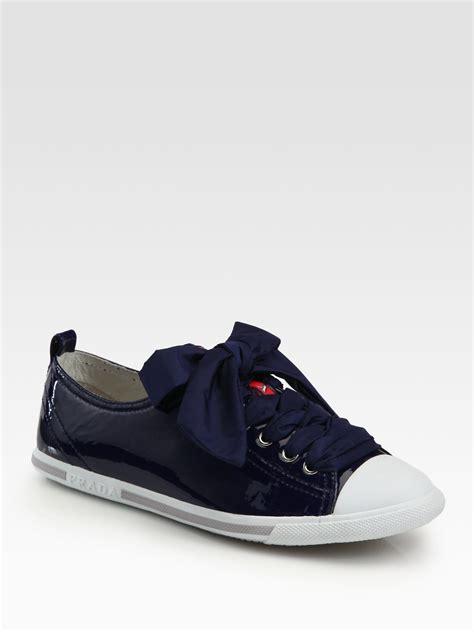 prada sneakers blue prada captoe patent leather sneakers in blue navy lyst