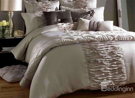 Luxury King Comforter Sets Luxury Courtly Beige Lace Trim Cotton Satin Drill Duvet