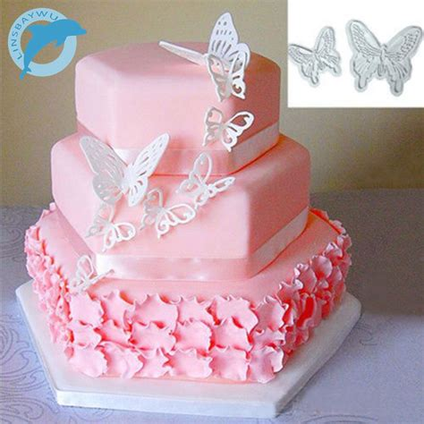 linsbaywu 2pcs set butterfly cake fondant sugarcraft cookie decorating cutters mold tool in cake