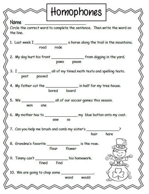free homonyms worksheets for 2nd grade 1 school
