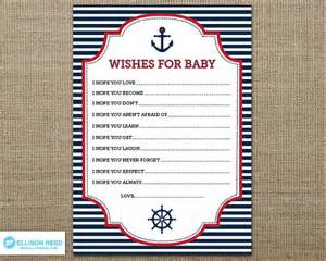 nautical wish card nautical baby shower wish for baby anchor nautical printable ahoy