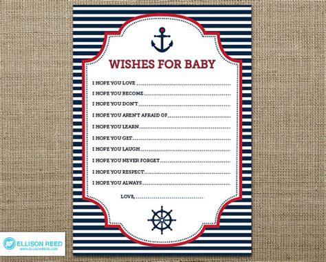 nautical baby shower free printables nautical wish card nautical baby shower wish for baby