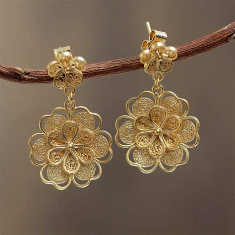 Handcrafted Gold Jewellery - gold plated filigree handmade flower dangle earrings