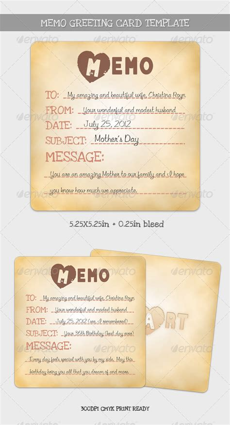 Memo Template Graphicriver Memo Greeting Card Template Graphicriver