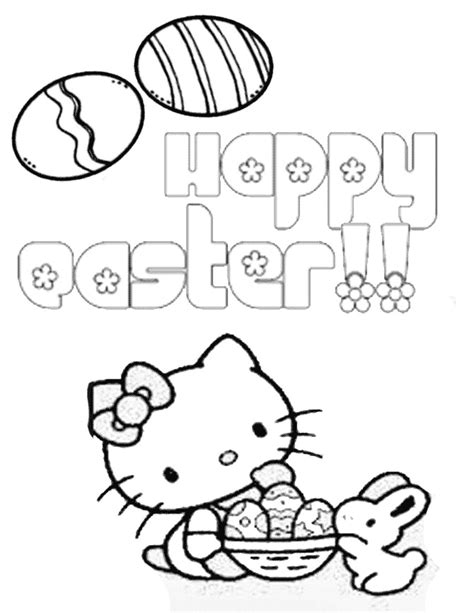 hello kitty eggs basket bunny easter coloring page h m