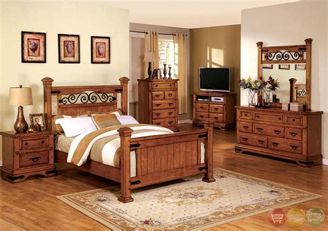 Rustic Oak Bedroom Furniture Sonoma Country American Oak Poster Bedroom Set With Rod Iron Design Cm7496