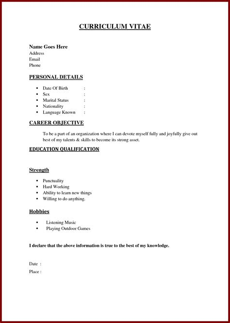 exles of resumes resume outline cv exle template pertaining to simple 85 stunning