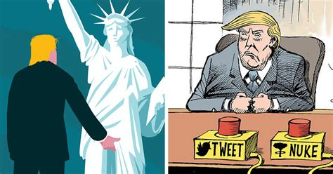 trump cartoon 15 cartoonists around the world illustrate how they feel