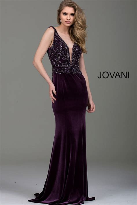 Longdress Velvet purple fitted embellished bodice with plunging