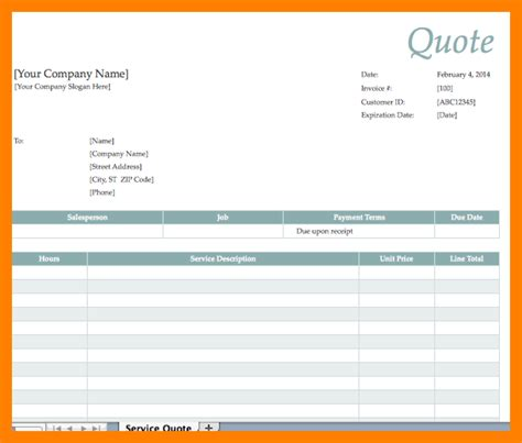 5 excel quote template coaching resume