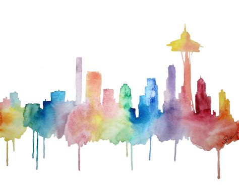 seattle art seattle skyline watercolor space needle print