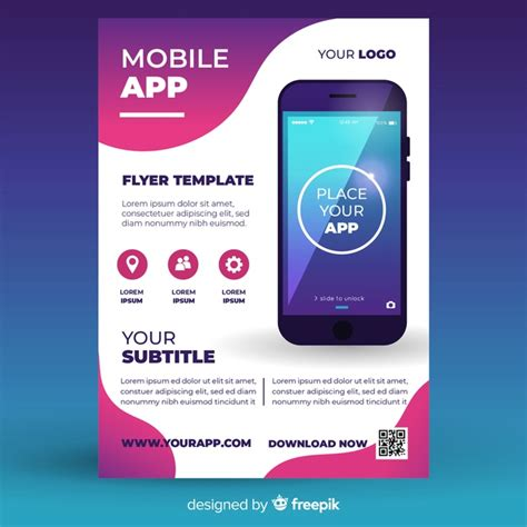 premium vector mobile app flyer template