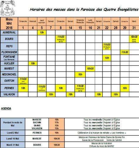 Calendrier 5 Mai Horaires Des Messes Et Agenda Du Mois De Mai