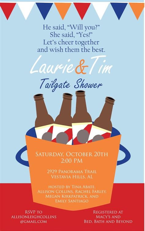 Come With Me Tailgate Ae Invites by Tailgate Couples Shower I M Sure This Will Come In Handy