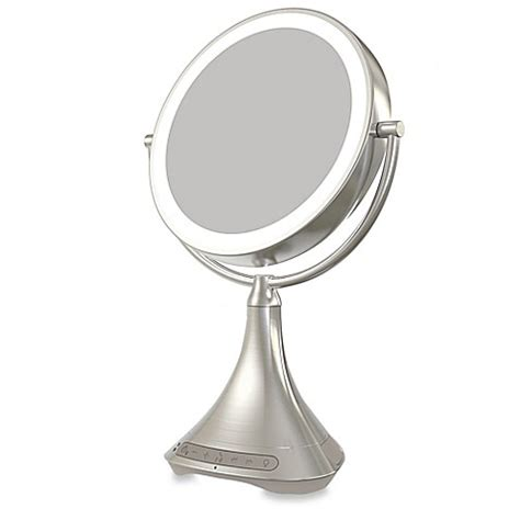 vanity mirror with lights and bluetooth ihome 174 1x 7x portable double sided 9 inch vanity mirror