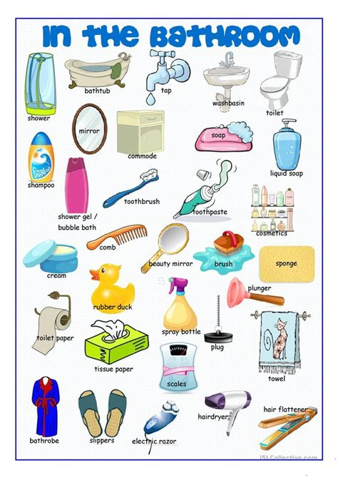 things to make you use the bathroom bathroom picture dictionary worksheet free esl printable