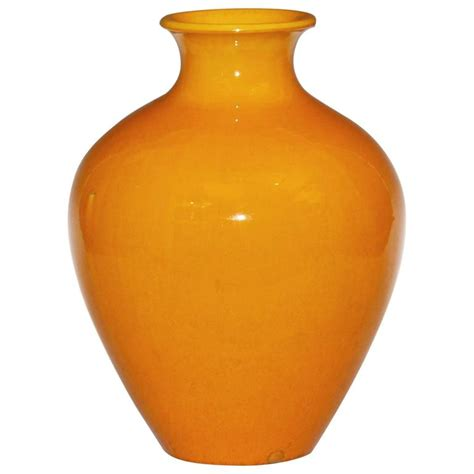 Yellow Decorative Vase by Large Awaji Pottery Vase In Golden Yellow Monochrome Glaze