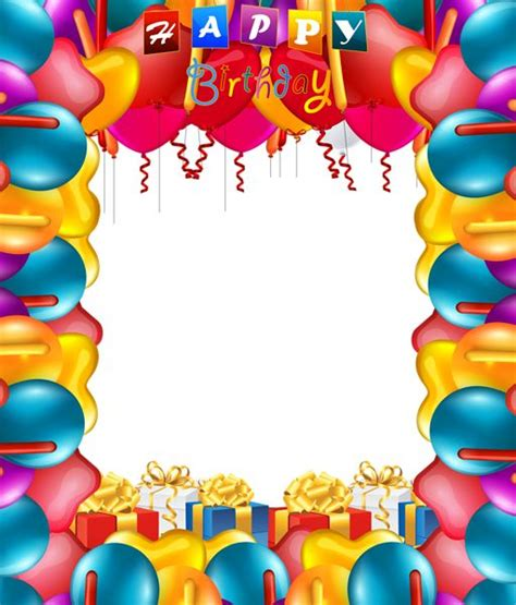 happy birthday photo frame template happy birthday balloons transparent png frame happy