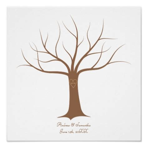 guestbook tree template fingerprint tree wedding guestbook zazzle