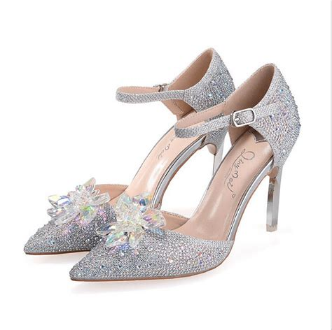 glass slipper high heels cinderella glass slipper rhinestone womens wedding