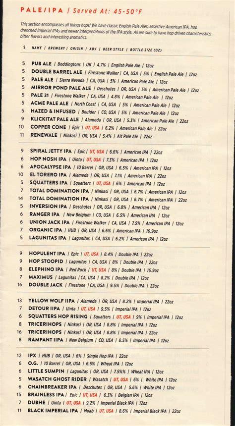 bar menu beer bar menu slc menu