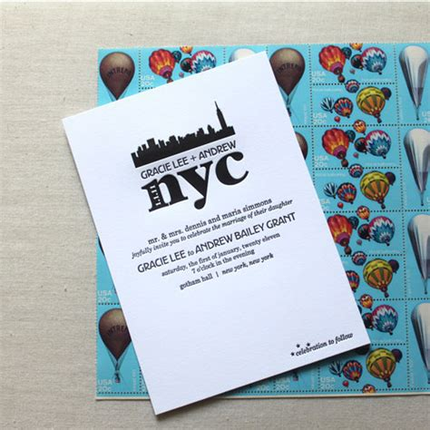 Wedding Invitations New York City by Gracie Andrew S Modern Nyc Themed Invitations