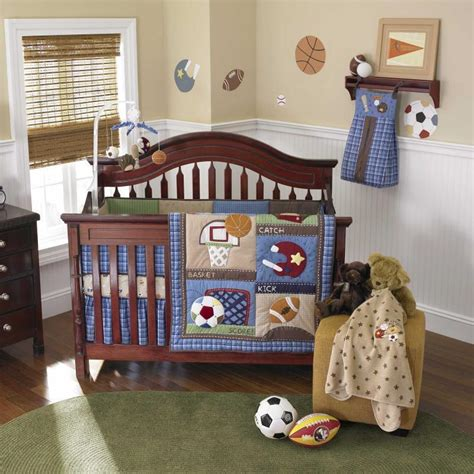 Boy Sports Crib Bedding blue sports infant baby boy football and baseball