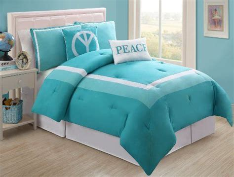 4 pc modern teens turquoise and white peace comforter