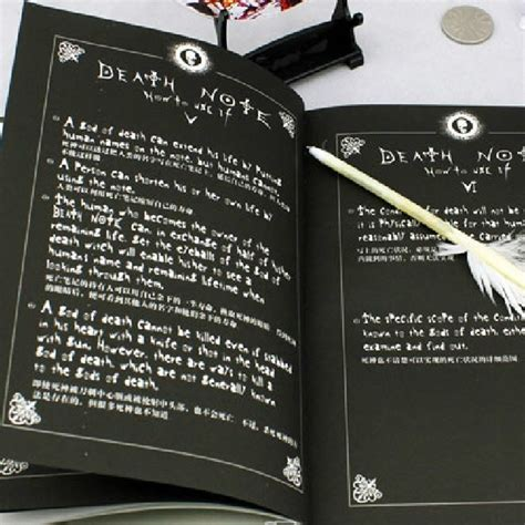 book themes about death 2pcs notebook feather pen writing journal anime theme