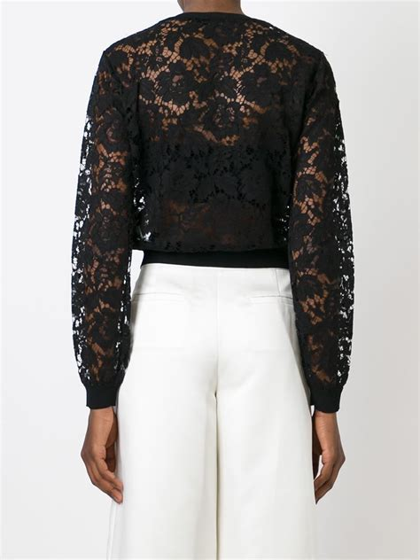 Lace Cardigan valentino lace cardigan in black lyst
