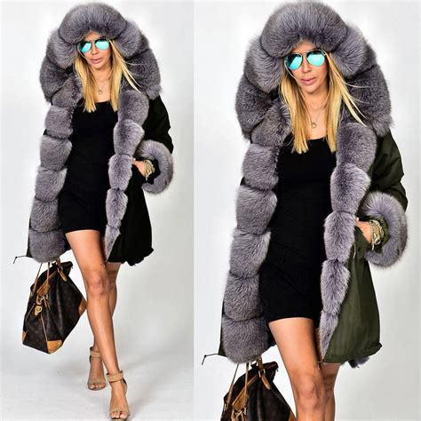 Roiii NEW Womens Faux Fur Hooded Jacket Winter Warm Parka