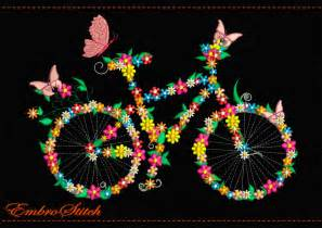 Flower Vase For Sale Bicycle In Flowers And Butterflies Embroidery Design 2