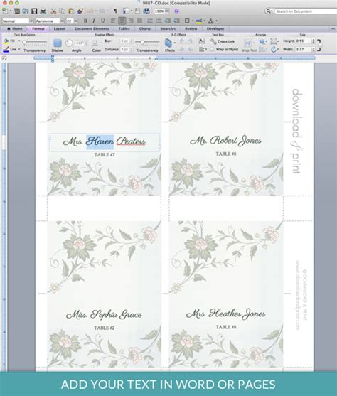 place card template word with database watercolor flowers place card template print