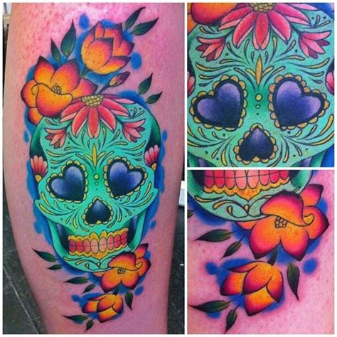 colorful skull tattoos i m obsessed with megan colorful sugar skull