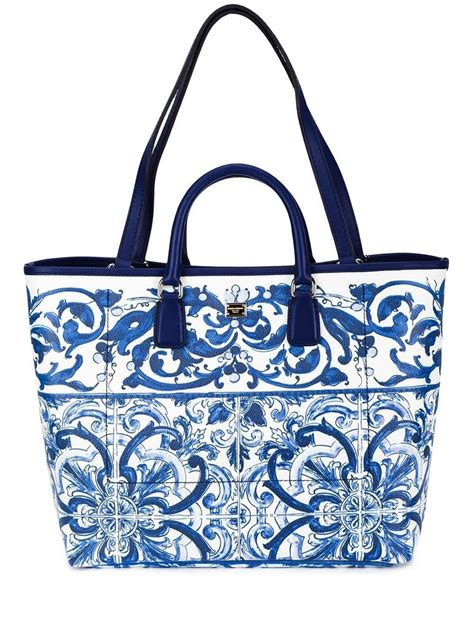 Dg Dolce And Gabbana Ocelot Print Tote by Dolce Gabbana Majolica Print Leather Tote In Blue Lyst