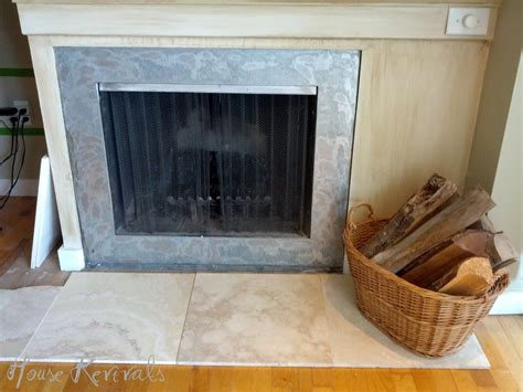 fireplace hearth ideas we used huge rectangular pieces of travertine in our bathroom renovation so using travertine