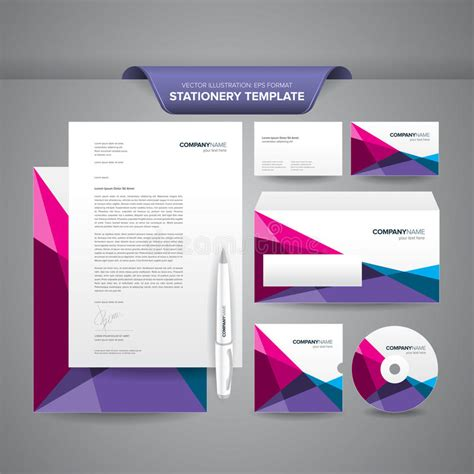 free business card letterhead envelope template stationery template polygonal stock vector illustration