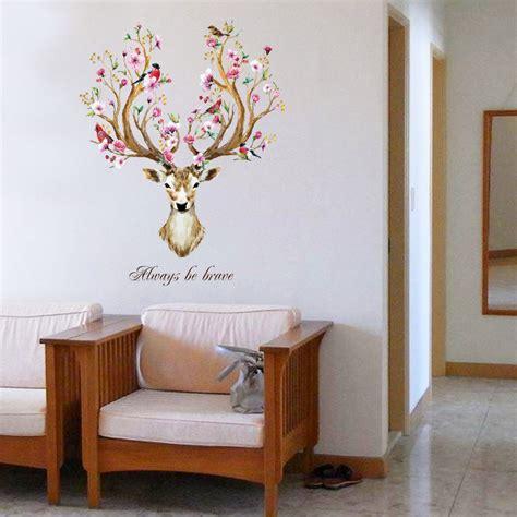 Deer Nursery Decor Sika Deer Flower Wall Stickers Vinyl Decal Removable Kid Nursery Decor Mural Ebay
