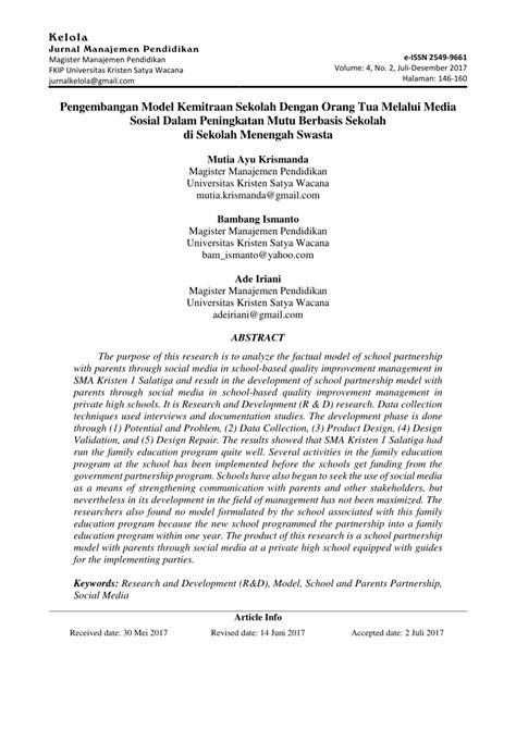 (PDF) Pengembangan Model Kemitraan Sekolah Dengan Orang