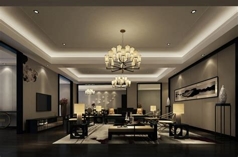 light blue living room interior lighting design rendering