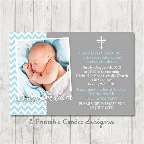 printable baptism invitation kits blue and grey chevron baptism or christening invitation