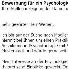 Lebenslauf Beispiel Psychologin Bewerbung Psychologe In Trainee Vorlagen De